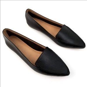 J.Crew Edie Black Leather Loafer Slip On Shoe SZ 9